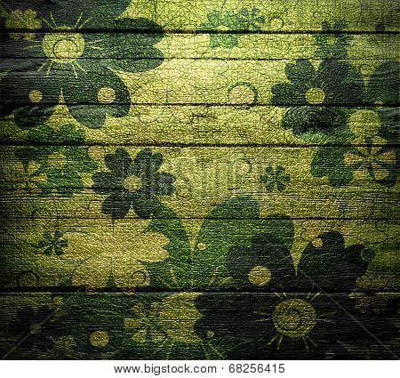 vintage floral wood wall texture