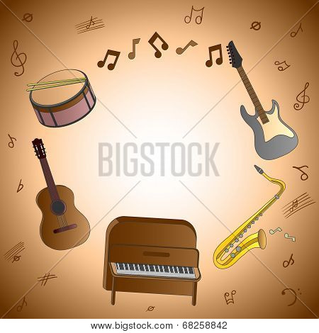 Card with musical instruments