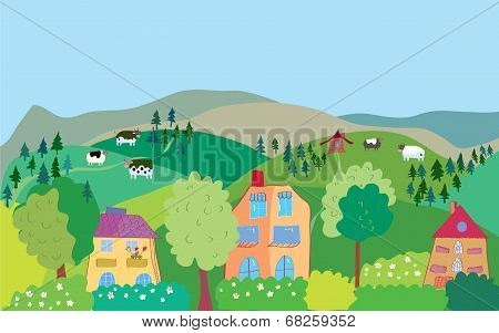 Landscape with mountain hills cows trees village