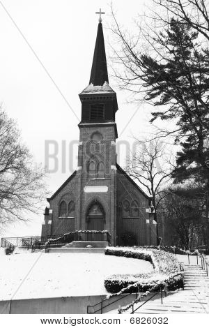 Old Country Church In Black And White