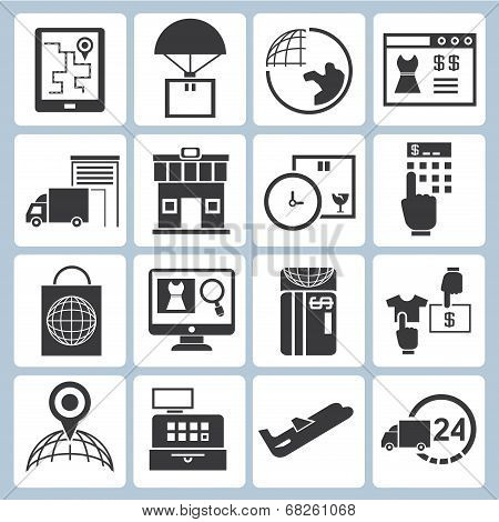 logistic icons, shipping management icons