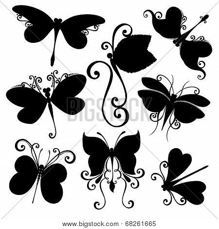 Vector Set of Dragonflies. Stencils Isolated