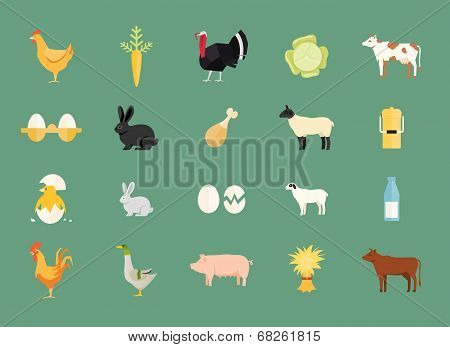 Colorful set of vector farm animals and produce