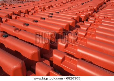 Rows Of Orange Security Barriers