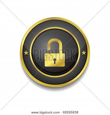 Unlock Circular Golden Black Vector Web Button Icon