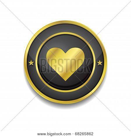 Heart Circular Golden Black Vector Web Button Icon