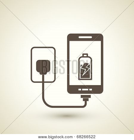 Retro Style Mobile Phone Charging Icon