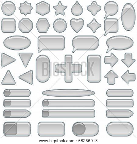 Silver glass buttons, set