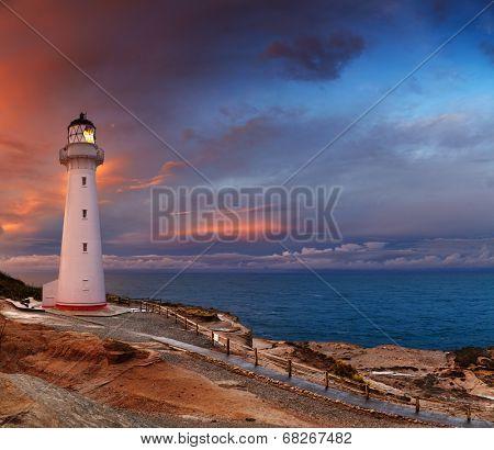 Castle Point Lighthouse, sunset, Wairarapa, New Zealand