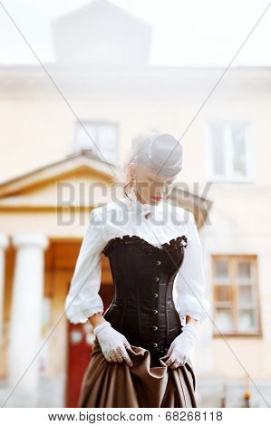 Beautiful Woman In Vintage Dress