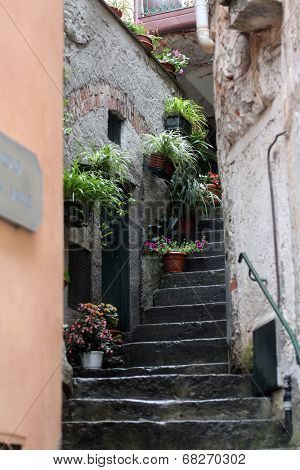 RIOMAGGIORE, ITALY - MAY 02, 2014: The narrow streets and stairs in the little village of Riomaggiore, Liguria, Italy one of the Cinque Terre villages, UNESCO World Heritage Sites