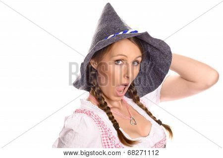 Attractive Woman In A Dirndl And Party Hat