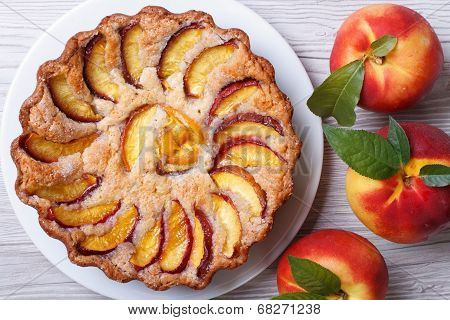 Peach Tart And Fresh Fruit Closeup Top View
