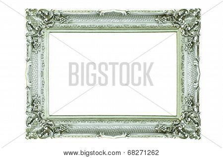 Vintage Silver Picture Frame Isolated On White