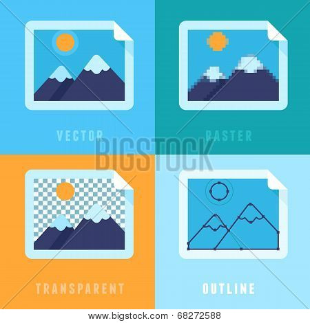 Vector Flat Icons - Different Image Formats