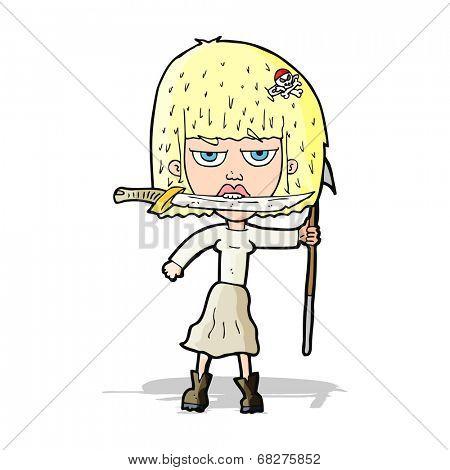 cartoon woman with knife and harpoon