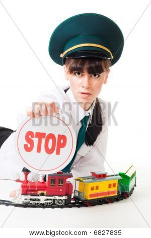 Railroad Worker mit Stop-Schild