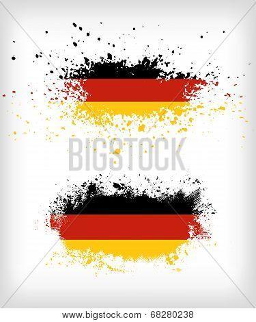 Grunge German Ink Splattered Flag Vectors