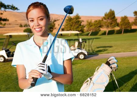 Young Pretty Woman Golfer
