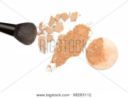 Loose Powder And Compact Powder With Makeup Brush And Puff