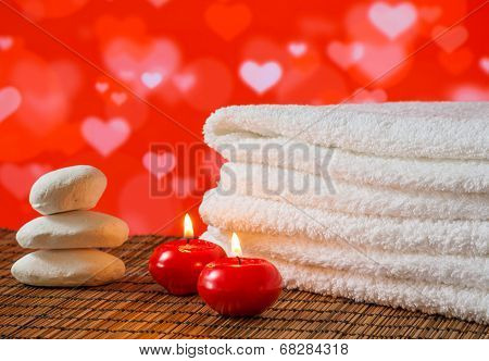 Spa Massage Border With Towel Stacked,red Candles And Stone For Valentine Day