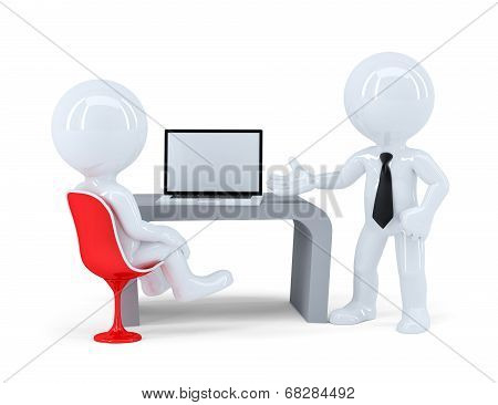 Business People Working Togetger At Laptop In Office. Isolated. Contains Clipping Path