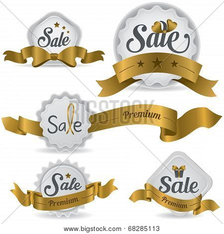 Gold Ribbon Glossy Sale Badges With Various Shape And Design (vector) poster