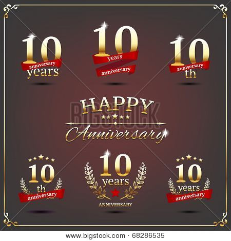 Ten years anniversary signs collection