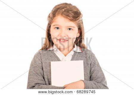 Little Girl Hugging A White Book
