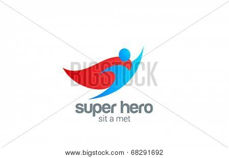 Super Hero abstract Character vector logo design template. Flying man Business creative art concept