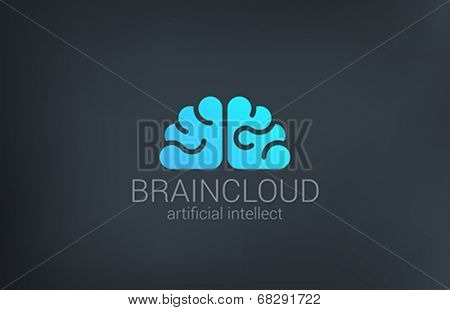 Brain Cloud Creative shape silhouette vector logo design template. Brainstorm idea icon. Digital Ar