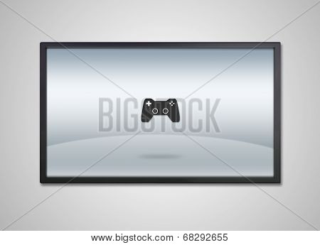 Tv Display With Entertainment Game Icon
