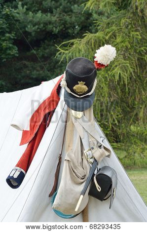 Napoleonic army kit on tent