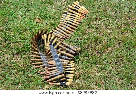 Machine gun bullets lying on ground