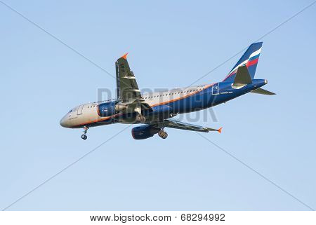 The airline Airbus A321 plane Aeroflot sits down at the Sheremetyevo airport
