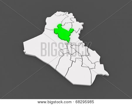 Map of Salah al-Din. Iraq. 3d