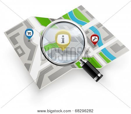 City map with magnifying glass isolated on white background.