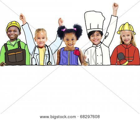 Happy Children and Dream Job Concepts and Copy Space