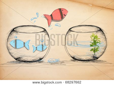 Fish Escaping to New Fishbowl