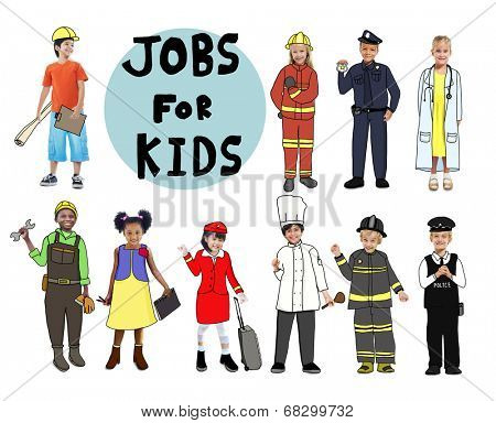 Group of Children with Professional Occupation Concept