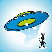 pic of flying saucer  - flying saucer landed on an alien land - JPG