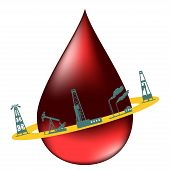picture of drop oil  - Drop of oil and the silhouettes of the oil industry - JPG