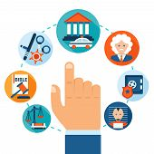 pic of jail  - Law and justice business concept with hand selecting jail criminal courthouse certificate icons vector illustration - JPG