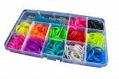 stock photo of loom  - Box with colorful rubber bands for rainbow loom - JPG