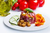 image of tartar  - tuna tartar with fresh zucchini and pepper - JPG
