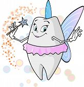 stock photo of tooth-fairy  - A flying cute tooth fairy with her magic wand - JPG