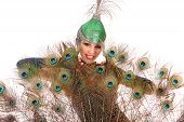 pic of female peacock  - Burlesque dancer with peacock feathers and green dress in studio - JPG