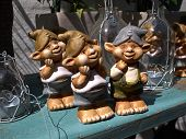 foto of gnome  - Funny classical vintage garden gnome dwarf on display - JPG