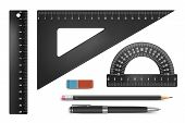 image of protractor  - Black school equipment set - JPG
