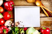 pic of recipe card  - Fresh Organic Vegetables and Spices on a Wooden Background and Paper for Notes - JPG